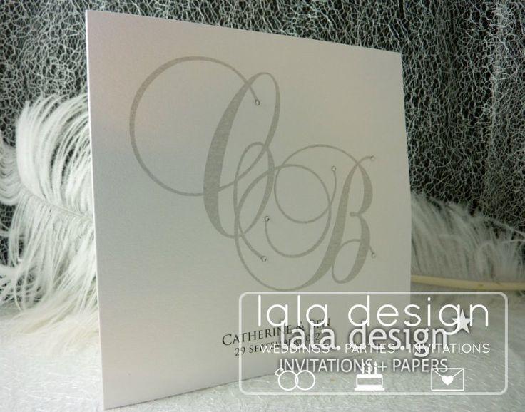 Silver with diamond embellishments graphic wedding invitation