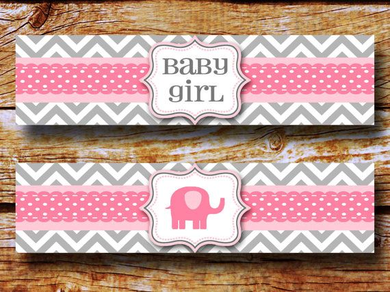 elephant baby shower water bottle wrappers water bottle labels chevron baby girl shower