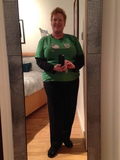 Day 182--Black wool pants, Pilates top with Irish t-shirt.