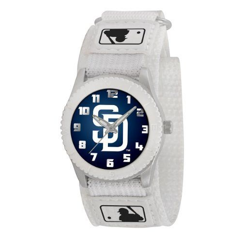 SAN DIEGO PADRES ROOKIE MLB youth / ladies white watch MLB-ROB-BOS Adjustable Velcro by Sweet Emilys. $24.95. SAN DIEGO PADRES WHITE YOUTH WATCH BY GAMETIME   Features * OFFICIAL TEAM LOGO ON DIAL  * Stainless Steel Back  * Adjustable Velcro® Strap Designed for Ladies and younger fans   Maximum wrist size: 6''  * Quartz Accuracy  * Shock Resistant/Water Resistant  * Limited Lifetime Warranty