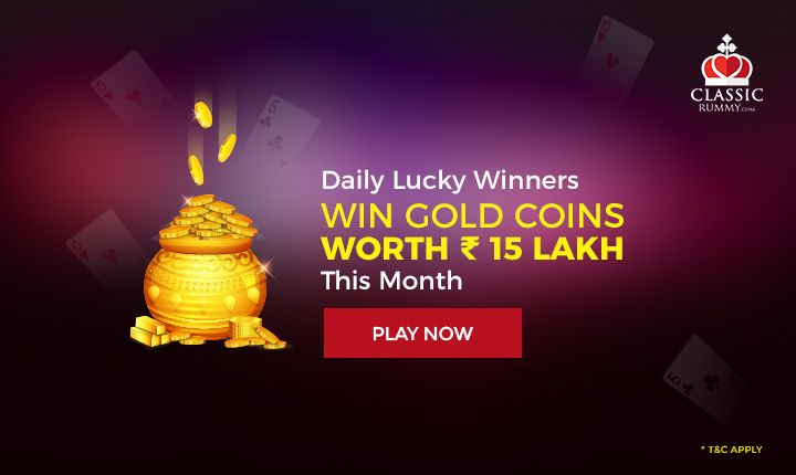 Daily Lucky Winners - Win Gold Coins worth Rs.15 Lakh this month.  #rummy #online #mobile #ios #android #card #games