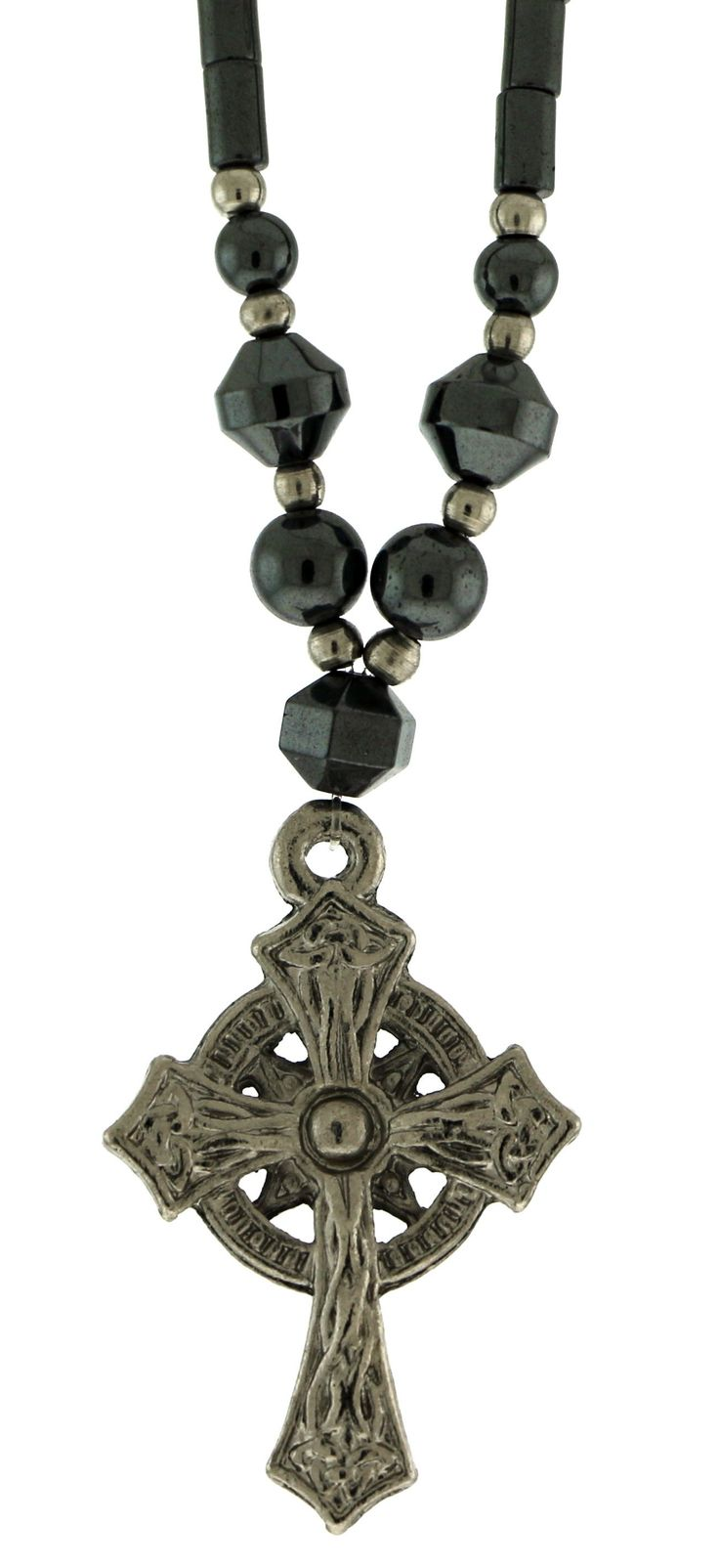 Beaded Hematite Necklace With Silver-Tone Cross Charm HN06