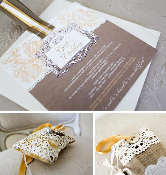 ribbon stiched to top of invitation.
