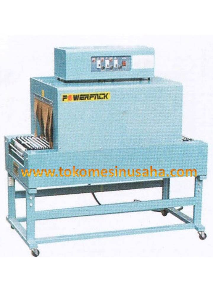 Mesin Thermal Shrink Packing adalah mesin yang digunakan untuk mengemas produk menggunkan plastik hingga plastik menyesuaikan bentuk produk. Spesifikasi: Type : BSD – 200 Power pemanas : 3,5 Kw Adjustable Power : 220-240V/50Hz Ukuran Produk : 15 x 10 cm Ukuran ruang : 70 x 20 x 13 cm Suhu ruang : 200°C max Dimensi : 1000 x 350 x 1050mm Kapasitas : 0-10m/m