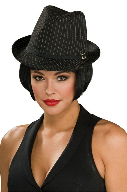 Pin Stripe Ladies Fedora - Grab this great gangster hat and get ready to hustle. This hat is a stiff corded material with white pinstriped dotting the hat. There is a black hat band and a fake jeweled buckle on the left side. Finishes any gangster moll costume, sassy swinging 20s costume and maybe just for pure fun. #gangster #fedora #classic #hat #yyc