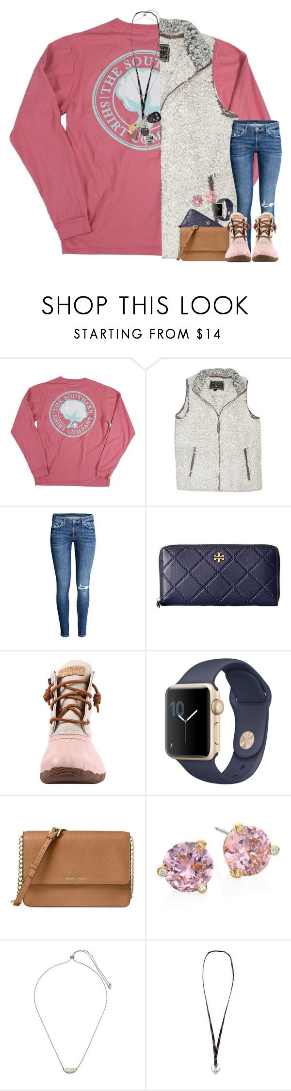 """Actual ootd for the bonfire"" by taylormaccallister ❤ liked on Polyvore featuring True Grit, H&M, Tory Burch, Sperry, Michael Kors, Kate Spade, Kendra Scott and Vera Bradley"