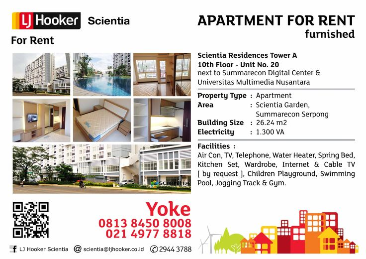 APARTMENT FOR RENT - Furnished -Scientia Residences Tower A @ Scientia Garden - next to UMN & SDC