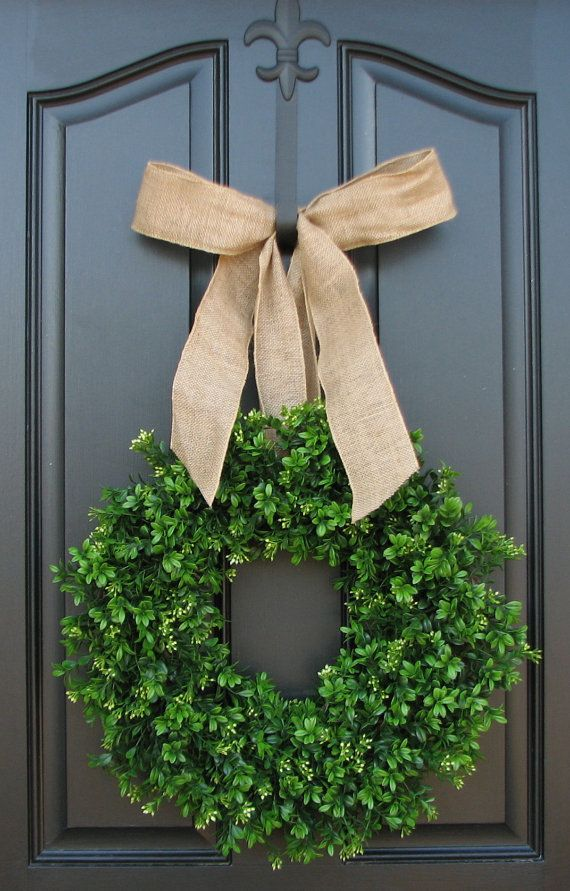 Spring Wreath  Burlap  Boxwood Wreath  Door by twoinspireyou, $80.00