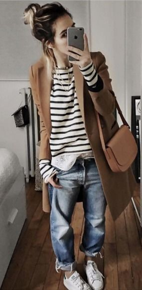 Messy Hairstyle  Camel Coat  Sailor Stripe Sweater  Loose Jeans  White Sneakers   CAsual Relaxed Winetr Street Style  Audrey Lombard