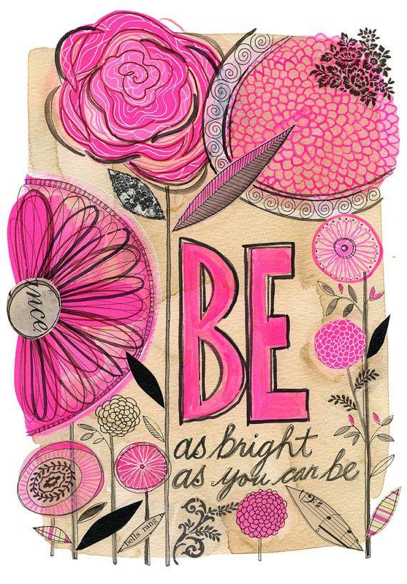 be as bright  - GICLEE PRINT, botanical collage, Susan Black via Etsy