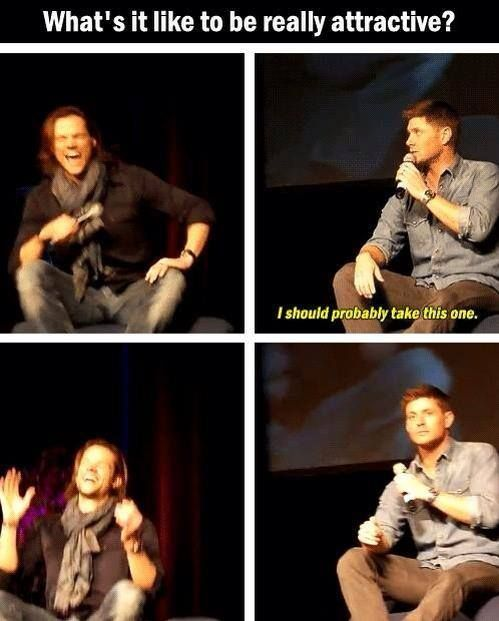 I love how Jensen can keep a completely straight face, and Jared is just dying.