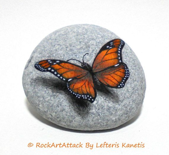 Stone painting art monarch butterfly! Painted on natural flat sea stone with acrylics and finished with satin varnish. Butterfly home decor