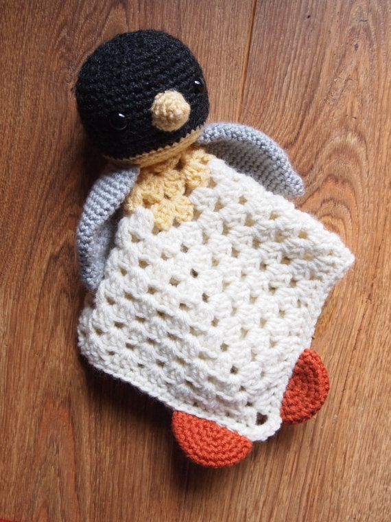 Baby Penguin Crochet Security Blanket Lovie Doll by HamAndEggs