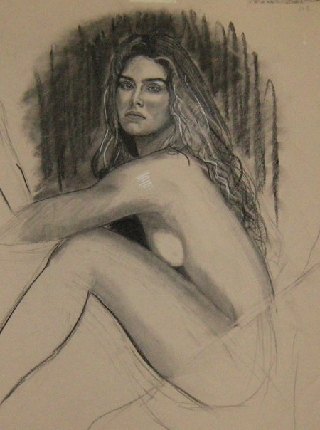 Brooke Shields,drawing by Paul Davison