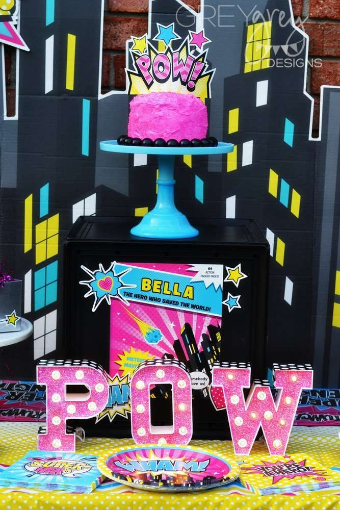 Incredible girly superhero birthday party! See more party ideas at CatchMyParty.com!
