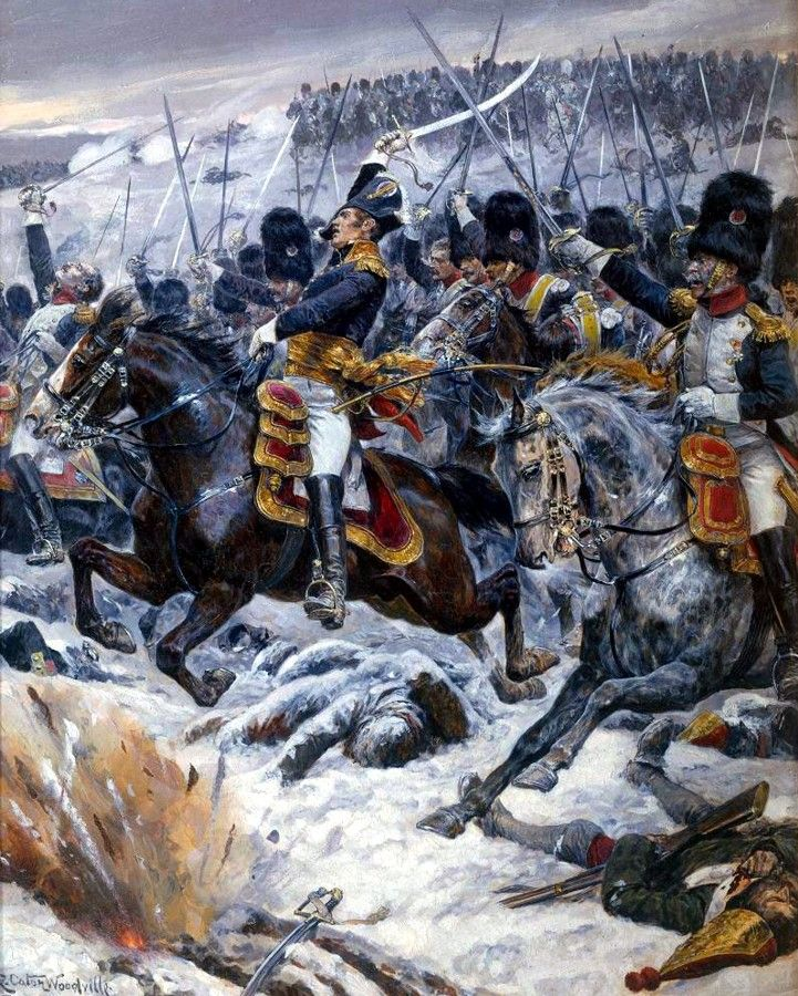 Marshal Ney at Eylau - Richard Caton Woodville. --- Great picture. However, Ney didn't lead or participate in the great cavalry charge-his corps was in close pursuit of Lestocq to the battlefield at the time. As for the carabiniers pictured, they were in Nansouty's heavy cavalry division if I recall correctly. Nansouty was not present at Eylau. The only heavy cavalry division on the field was d'Hautpoul's.