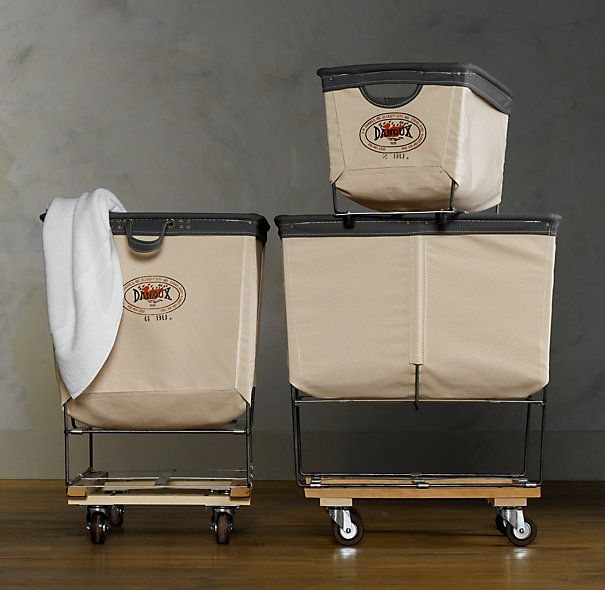 Laundry carts - practical and classy. You can just wheel them from the bedroom or bathroom closet right into the laundry room. No hampers or laundry baskets.