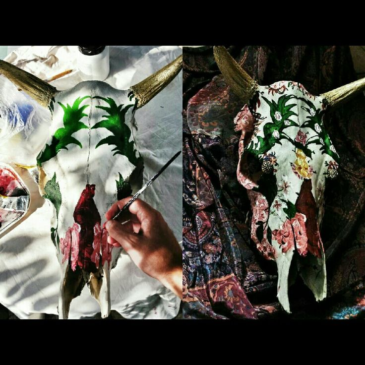 My artwork. ΒOTANICAL GARDEN DECORATIVE COW SKULL. Acrylic on skull. 100 × 50.