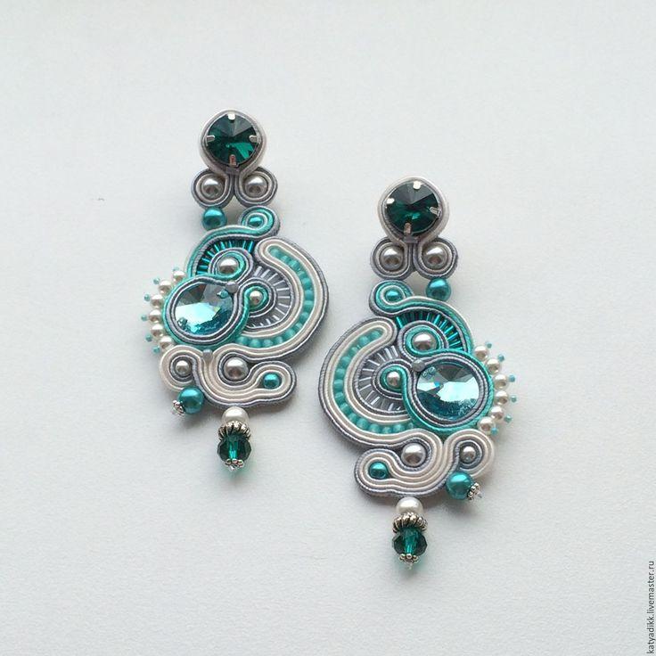 Купить МЯТНЫЙ ЗЕФИР-сутажный комплект (серьги, браслет) - бирюзовый, сутажные украшения, вечерние украшения