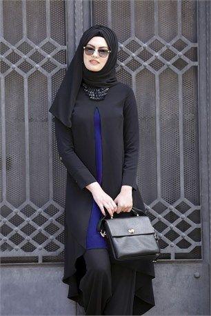 A Pile Uzun Tunik - Siyah-Saks - Güler- 2230 #tesettür #giyim #ayakkabı…