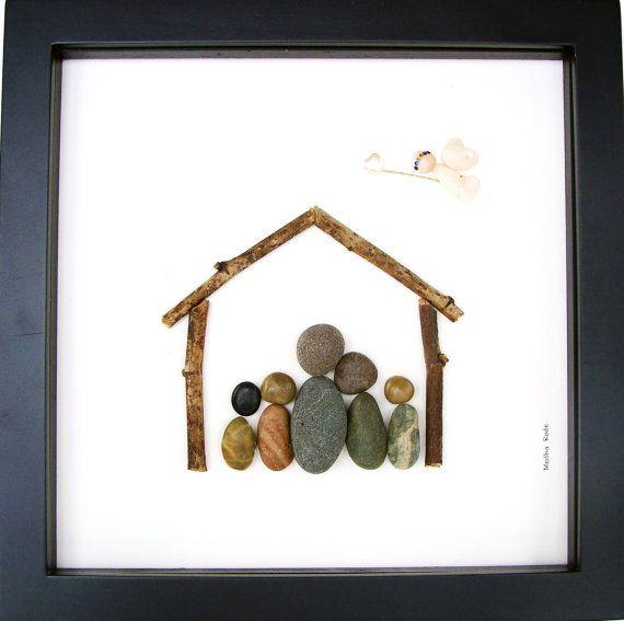 Custom Family Gift Pencil Drawing Pebble Art Work For by MedhaRode