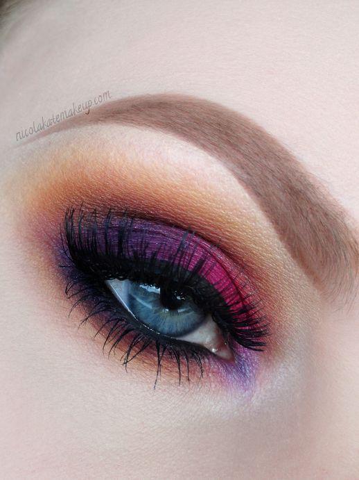 Pink, purple and gold eyeshadow #eyes #eye #makeup #bright #bold #dramatic