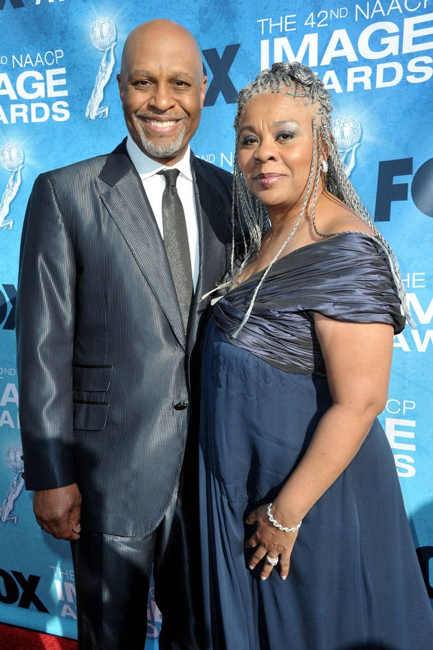 This BEAUTIFUL black couple:  James Pickens Jr. and Wife Gina at the 42nd NAACP Image Awards.