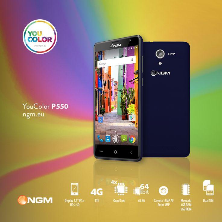"""You Color #P550 Display maxi, formato pocket! - Gestione #DualSim con processore Quad Core da 64-bit - #Display IPS IRIDIA HD da 5.5'' resistente a urti e graffi grazie alla tecnologia """"Curved Edge 2.5D""""  - #Fotocamera posteriore da 13 Mega Pixel High Qualit - #Memoria RAM 1 GB e Memoria interna da 8GB espandibile - #SistemaOperativo Android 5.1 - #Connettività 4G e #Modulo LTE Acquistando You Color P550, avrai diritto a scegliere una #suitCover aggiuntiva…"""