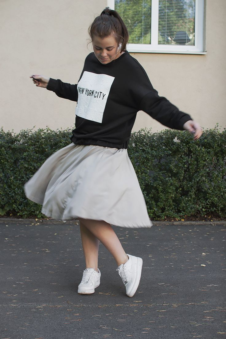 The jumper and skirt combination
