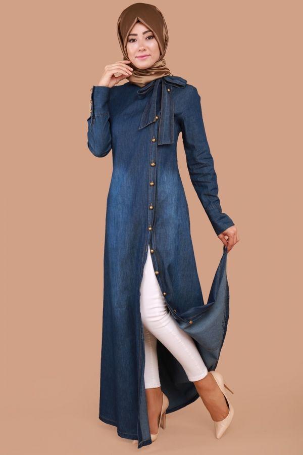Yandan Düğmeli Fularlı Kot Elbise Koyu Kot Ürün kodu: MSW8140 --> 74.90 TL