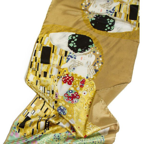 Silk Scarf with motif The Kiss by Gustav Klimt silk screened by hand handrolled #Rosberg #Scarf