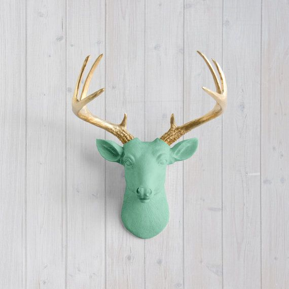 Mint Mini Deer + Gold Antler by Wall Charmers™ - Faux Head Metallic Green Fake Animal Resin Ceramic Taxidermy Turquoise Stag Decor Mount Art
