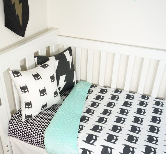Batman black and mint nursery items by MamaAndCub on Etsy