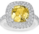 Yellow Sapphire Engagement Ring 1.50ct. cushion cut yellow sapphire in a platinum and diamond micro-pave setting