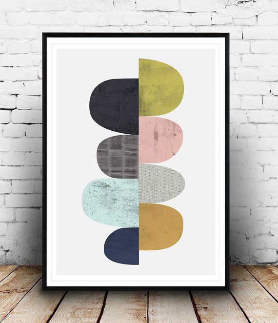 Abstract poster Mid century modern art Scandinavian by Wallzilla
