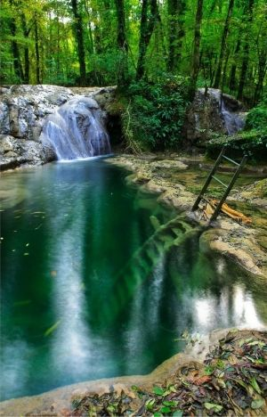 Deep Ladder in a Waterfall by annalyse
