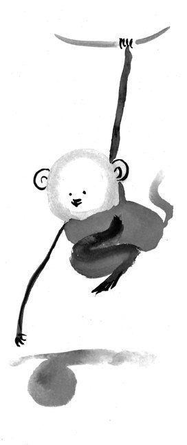 Monkey Chinese New Year Zen Chinese Zodiac Original by ZenBrush