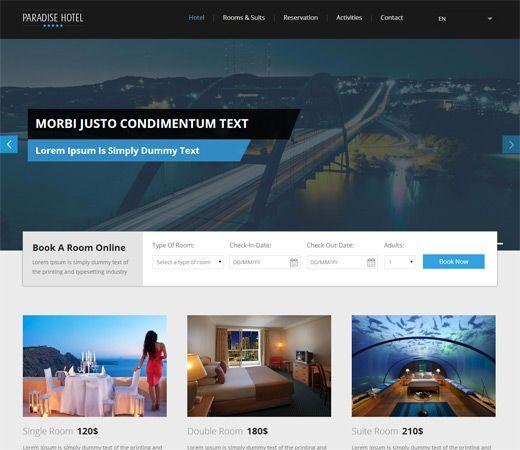 Paradise Hotel a Flat Responsive web template