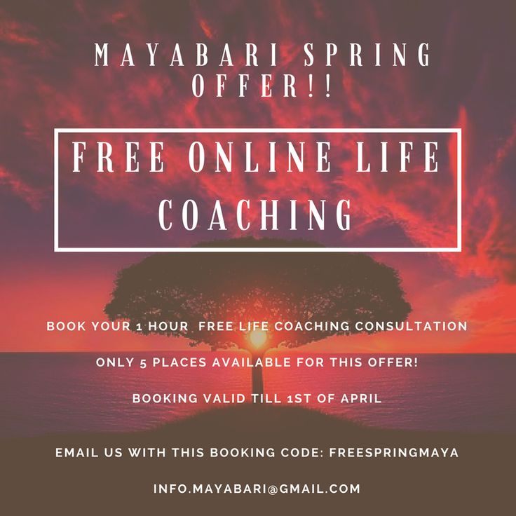 Spring is here and as every year we have a great offer for you! Free life coaching with Ale! The session last 1 hour and you can be anywhere in the world as it will be done online. Only 5 coupons available! Be fast and drop us an e mail with the code below. The life coaching can be done in english, spanish and italian.  Offer code: FREESPRINGMAYA Booking e mail: info.mayabari@gmail.com  We will deliver free life coaching only to the first 5 appications we receive!  Be quick!!!  Peace and see…