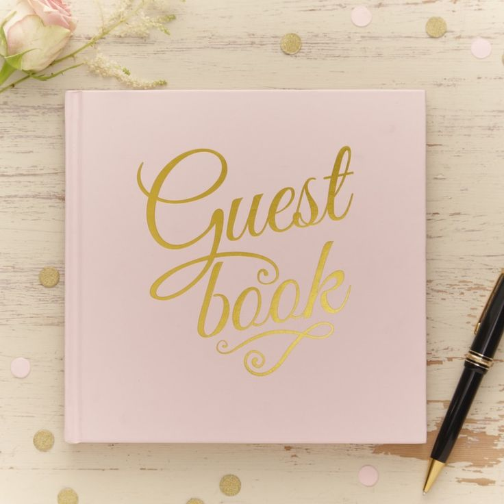 Pretty pastel pink and gold foiled guestbook! Keep memories of the big day forever in this lovely wedding guestbook. - Pastel Perfection at GingerRay.co.uk