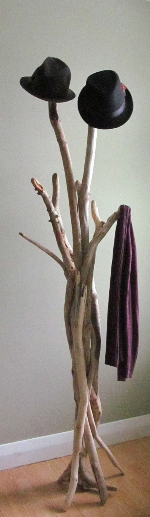 Vertically Standing Driftwood Coat Rack by DriftingConcepts ... lovely!