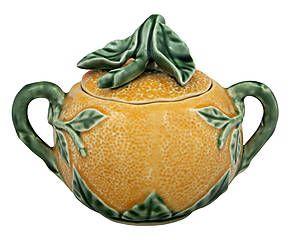 Pot à sucre faïence portugaise, orange et vert - 15*10