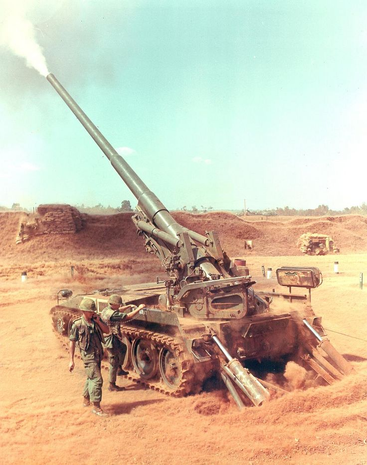 M107175mm Self-Propelled Gun. These guns fired an HE shell weighing 66.6 kilograms at a muzzle velocity of 914 meters per second. The M107 was used extensively in Vietnam to provide long range fire support (being able to fire more than 30km).