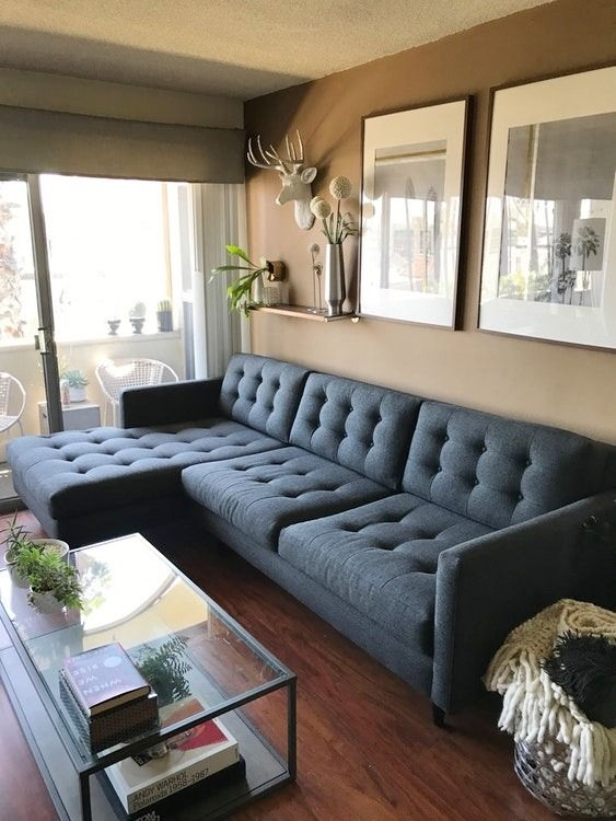 Originally from Apt2B, this navy sectional sofa is now listed at over half off the original price. You get the clean, modern lines of contemporary design, plus the comfort you need in a living room essential.