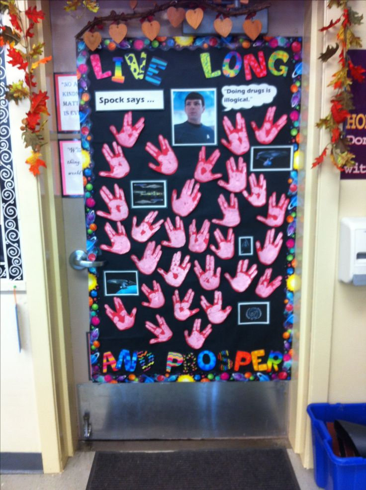 Classroom Decorations Bulletin Boards ~ My red ribbon week door a tribute to star trek love it