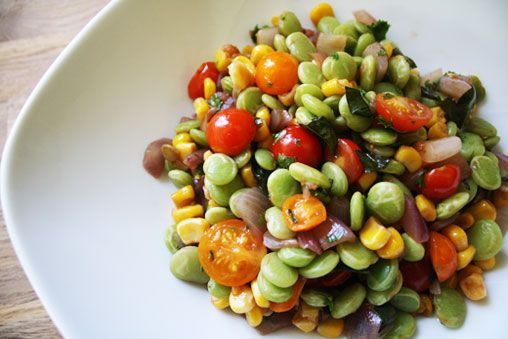 Summertime Succotash from the book that started a real movement in my life - The Kind Diet by Alicia Silverstone. This recipe says it all - vegan, seasonal, beautiful, clean, healthy, and delicious. #earthbalance