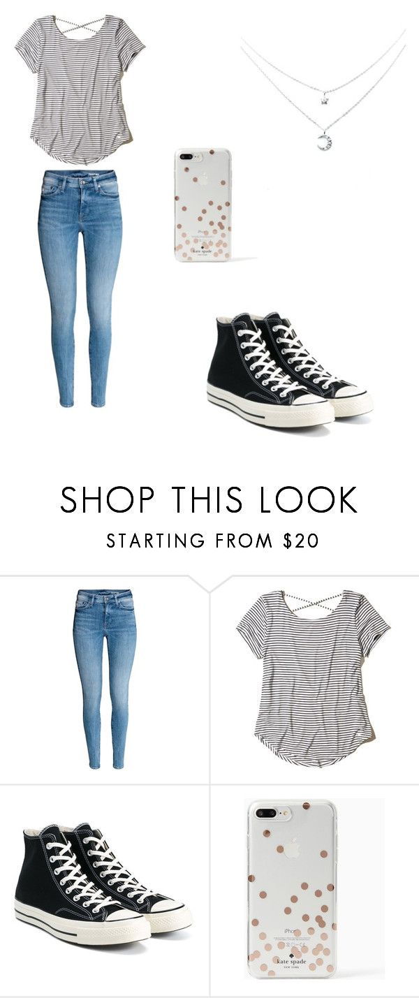 """Untitled #5"" by dessyhart ❤ liked on Polyvore featuring Hollister Co., Converse and Kate Spade"