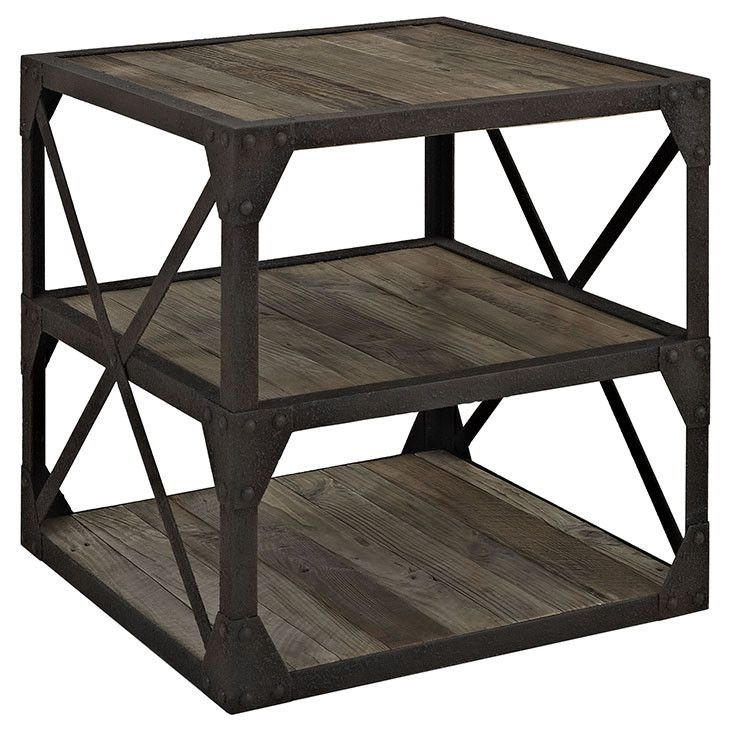 Modway Furniture Modern Industrial Metal And Wood Bracket Stand In Brown  #design #homedesign #