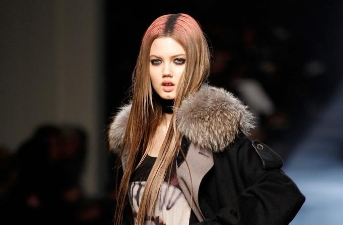 trend reverse dip-dye at Jean Paul Gaultier, autumn/winter 2012  Lindsey Wixson