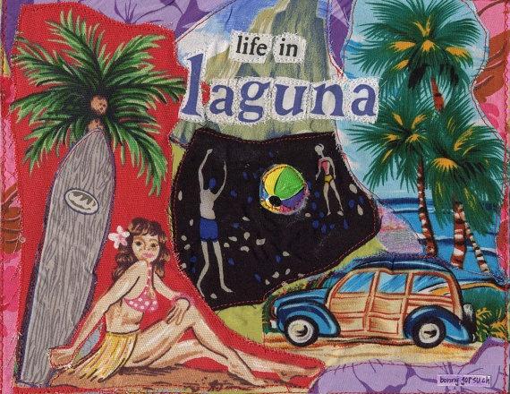 Surf LAGUNA Beach Original Fabric Collage by mybonny